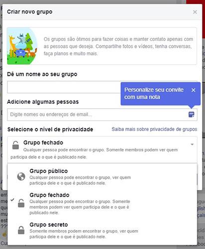 privacidade Grupos do Facebook